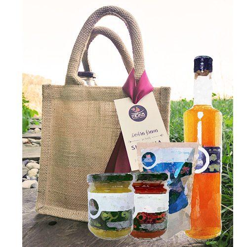Darilni komplet izdelkov (1x sirup, 2x marmelada ali zel.namaz, 1x suho sadje)